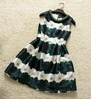 Europe Fashion Clothes Noble Quality Striped  Print O-Neck Diamonds Dress sleeveless new women104