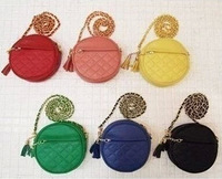 2015High Fashion Candy colored round small chain bag Girls Quilted Tassel Shoulder Bags PU leather Messenger little bag 5pcs/lot