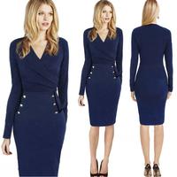 102 New 2015 Spring Fashion Slim OL V-neck Long Sleeve Women Pencil Dress Blue Knee-Length Casual Bodycon Elegant Party Dresses