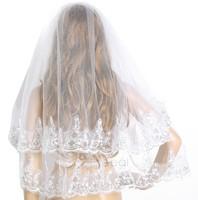 Wedding Accessories Bridal Veil Two Layer White Ivory Comb Bridal Accesories Paillette Wedding Veil Ivory Short Veil b9 SV009451