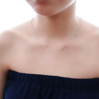 Wholesale Women Fashion Classic 1mm Sterling 925 silver 100% snake chains necklace + free shipping