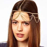 Brand 2015 Newest Head Jewelry Gold Plated Hair Decoration Metal Head Chain hair band headband Headpiece Free Shipping B6