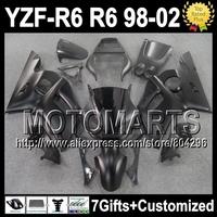 7gifts For YAMAHA YZFR6  YZF R6 ALL Flat black YZF600 J9216  YZF-R6 Matte black 98 99 00 01 02 1998 1999 2000 2001 2002 Fairing
