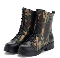 free shipping 2015 women winter middle style Camouflage martin cowhide Genuine leather flat combat boots
