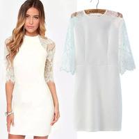 #YZX-LAR Women elegant lace summer casual dress patchwork simple hollow out lace dresses