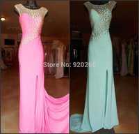 New Arrival Beaded Crystal Pink and mint green long 2015  Evening Dress Real photo Prom Dresses Custom Vestido de festa