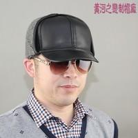 Quinquagenarian genuine leather hat male ear baseball cap winter sheepskin warm hat lei feng cap