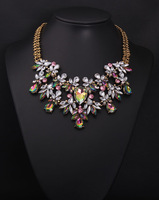 New Spring Fashion Multicolor Glass Flower Chunky Bib Necklaces & Pendants Gold Chain Fashion Women's Jewelry
