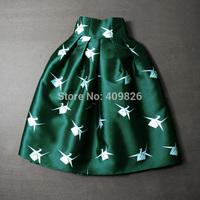 2015 New Audrey Hepburn Style Vintage Female Paper Cranes Animal Print Tutu Skirt High Waist Saia Curta Cintura Alta Green