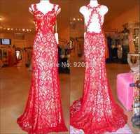 Custom Mermaid Sheath Floor-Length Court Train Cap Sleeve Sexy Sweetheart  Appliques red Lace Long Prom Dresses 2015 New Design