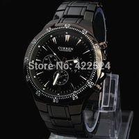 CURREN Fashion Men Sport Analog Quartz Watches Brand Male Casual Clock Full Stainless Steel Strap Military Watch black watch