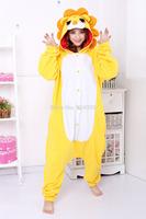 Animal cos lion Pajamas Adult Women Men Flannel fleece hoodie Onesie Costume christmas clothes Halloween sleepsuit dress