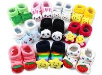 2015 New Lovely Cartoon Baby Socks Newborn Cotton Animal Anti-slip Walking socks for 0-12 months Kids accessories