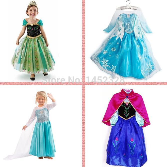 5pcs/lot+Free 2015 Hot Selling New Style Girls fashion Dress Elsa Anna beautiful Dress Fashion princess Dress Children's Cloting(China (Mainland))