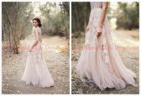 cheap appliques vintage v-neck lace wedding dress rustic bride dress lace wedding party dresses gown 2014