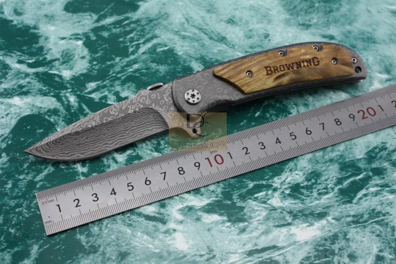 Browning 338 folding knife 440C Damascus pattern blade wood handle pocket Tactical Survival Folding knife(China (Mainland))