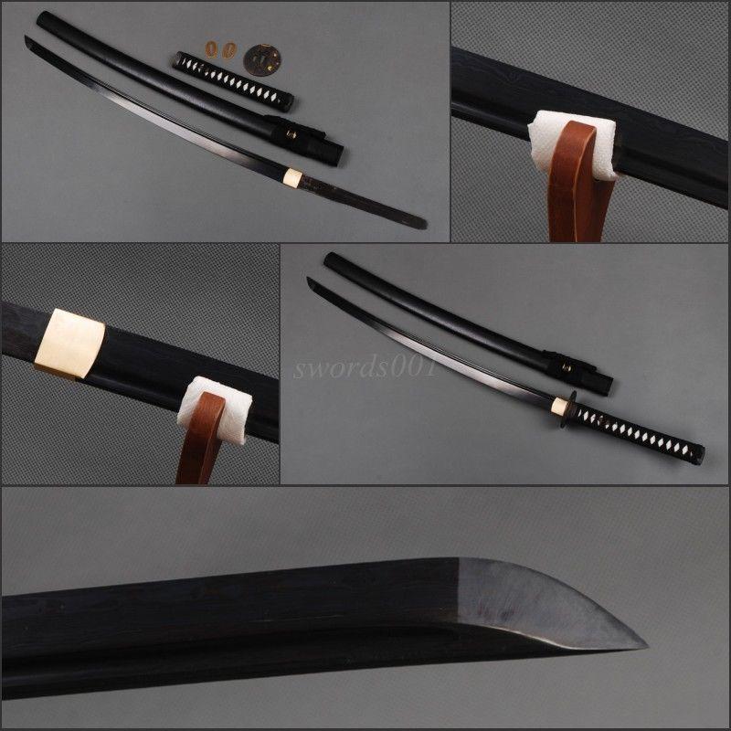 FULL BLACK JAPANESE SWORD KATANA FOLDED STEEL 2048 LAYER SHARP CAN CUT TREE(China (Mainland))