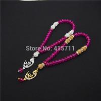 Fushia Crystal Rondelles  Islamic Muslim Prayer Beads Tasbih 33beads Allah Misbaha Sibha   L150113023