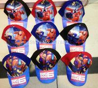 50pcs/Lot Free Shipping ! 2015 Hot Sale Big Hero 6 Baymax Baseball Cap Cartoon Kids Sun Hats Summer Beret Cap A112 Wholesale