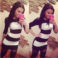 Hot Sale 2015 Spring Fashion Women Brand Black White Wide Stripes Slim Bodycon Dress Print Patchwork Dresses Lady Causal Dress
