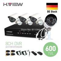 EU Stock 8CH CCTV System Full D1 HDMI DVR 4PCS 600TVL IR Outdoor CCTV Camera 24 LEDs Home Security System Surveillance Kits