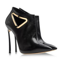 Free shipping 2014 Popular black genuine leather pointed casade women ankle boots 12cm heels real pic