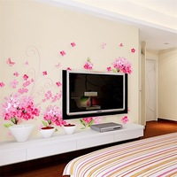 Free shipping removable decor home decorative wall stickers window room pink floral