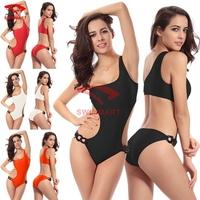 New 2015 Solid color one p iece sexy bikini swimwear, high quality summer beach swimsuit Padded VS-010