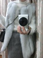 Fur coat 2014 fox fur long vest design grey vertical stripe blue am