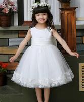Free shipping White princess flower girls dress Dress party evening elegant lace dress girl dacing dress 3-12 age Q14