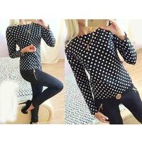 2015 Spring summer Europe Women Round Slim Long Sleeve Printed Wave dots prints Point Blouse Tops Base Shirt