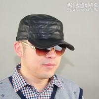 Original design genuine leather hat spring and autumn warm hat cadet cap