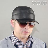 Quinquagenarian genuine leather hat male winter sheepskin warm hat ear flat cotton cap