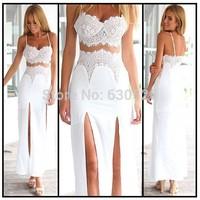 Hot Sale Lace Panel Beach Maxi Dresses Summer New 2015 Vintage Geometric Summer Women's Sleeveless Beach Wear Bathing Suit 4350