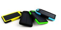 Portable External 5000mAh Waterproof Solar Charger Dual USB Battery Power Bank black color Free shipping