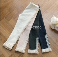New Baby Girls Cotton Pearls Lace Hem Leggings , Princess Fashion Boutique Pencil Pants,  10 pieces/lot, Wholesale