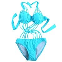 Sexy Bikinis 2015 One-piece Swimsuit Bandage Hollow Out Push Up Swimwear Women Monokini Padded Swim Suit Criss-cross Beachwear