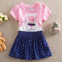 Free shipping 5pcs/lot girls peppa pig dress girls short sleeve cartoon dress girls children cartoon summer causal dress 2-6year