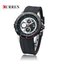 Newest CURREN Men's Watches Top Brand Luxury Fashion Analog Quartz Watch Date Display & Silicone Strap Sports Watches Original