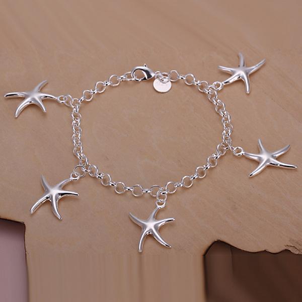925 sterling silver fashion Jewerly five starfish pendant charms bracelet girls/women Fine Jewerly Wholesale Bracelet Promotion(China (Mainland))
