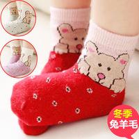 Free shipping Child cashmere socks winter thickening baby cartoon socks small kid's socks