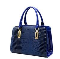 2015 new patent leather crocodile pattern shoulder bags women handbag bolsas femininas female lady mochila Messenger bag