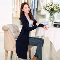 2014 long solid color pocket design cardigan sweater outerwear female k62