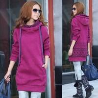 Medium-long plus velvet thickening sweatshirt women's separate hooded sweater women's outerwear fleece shirt autumn and winter