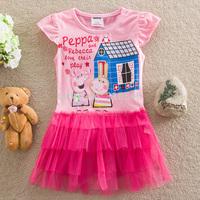 Free shipping 5pcs/lot baby peppa pig dress girls short sleeve cartoon dress girl floral dress 2-6year