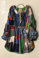 Plus size clothing fluid female long-sleeve t-shirt plaid print female cotton top
