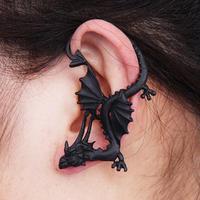 Vintage Punk Retro Silver Bronze Black color Sexy fly Dragon left ear stud earrings for women