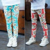 2015 New Kids Leggings Cartoon Tiger Spring High Quality 2T-8 Cotton Wear Children Trousers 1pcs retail