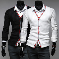 2015 V-neck striped long sleeve  Cardigans hot selling new brand Single Breasted sweater mens casual sweater three colors H7534