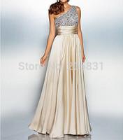 New Designer Free Shipping Girdling One-Shoulder Sequined Satin Shirred Flouncing Floor-Length  Evening Dress Vestido de noite